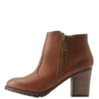 Chestnut Side-Zipper Chunky Heel Booties by Charlotte Russe