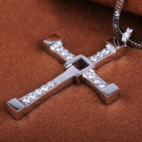mens womens simple style silver cross necklace gift 44