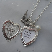 The Hunger Games Katniss's Pearl & Mockingjay, Real or not Real , Heart Locket Necklace