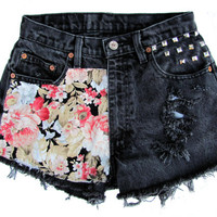 High Waisted Frayed Black Denim Shorts with Floral Fabric and Studs