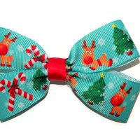 Christmas Red Nose Reindeer Double Hair Bow for Girls