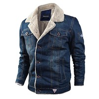 Men Denim Jacket Mens Fashion Casual Jeans Jacket Man Warm Thick Denim Coat Male Fur Collar Bomber Coats Outerwear