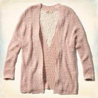 Lace Back Cocoon Cardigan