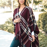 Plaid Open Front Poncho- Burgundy