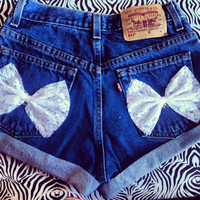 White lace bow shorts by AngeliqueMerici on Etsy