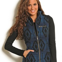 Powder River Women's Aztec Reversible Wool Vest - Blue