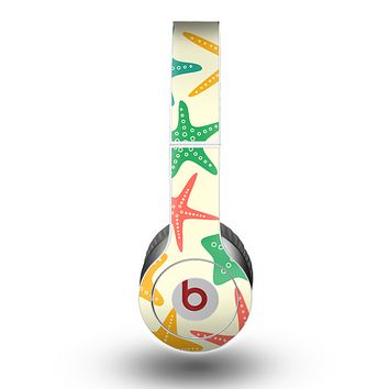 The Tan And Colorful Vector StarFish Skin for the Beats by Dre Original Solo-Solo HD Headphones