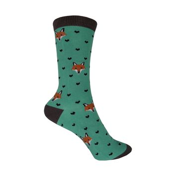 Bamboo Fox Lover Crew Socks in Mist