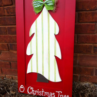 Christmas Tree on  red cabinet door for wall decor or door hanger by Higgi House