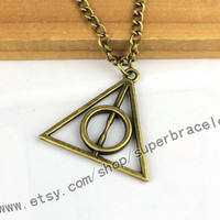 Harry potter and the deathly hallows necklaces, pendants, harry potter Antique bronze necklace, graduation gift, friendship gift