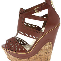 BEVERLY11 LIGHT BROWN WEDGE #WS5888