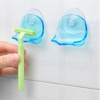 Clear Blue Plastic Super Suction Cup Razor Rack Bathroom Razor Holder Suction Cup Shaver [8045591111]