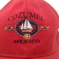 Cozumel Mexico Red Ball Cap Hat Velcro Adjustable Baseball One Size Mexican Cap Souvenir Acrylic Wool Red Sun Hat Men's Gift Vintage