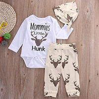 2016 kids boys  clothes baby Deer clothing sets Newborn Toddler Baby Boy Girl Romper T Shirt+Pants Hat 3PCS Outfits Set Clothes