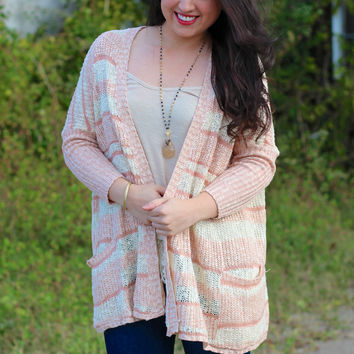 Cold Weather Dreams Cardigan {Cream/Light Pink}