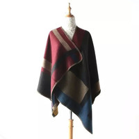 Block Plaid Print Woolen Wrapped Shawl