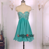 2015 New Ball Gown Empire Waist Sweetheart Beaded Teal Chiffon Short Prom Dresses Gown/Homecoming Dress/Cocktail Party Dress/Holiday Dress