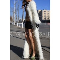 Trendy Collarless Long Sleeve Pure Color Faux Fur Coat For Women