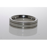 Mens Tungsten Ring 6mm Band Carbide Polished Shiny Flat Double Grooved
