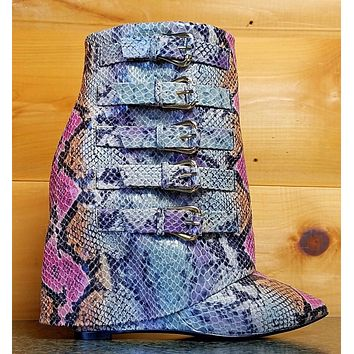 """Nelly B High Life Multi Color Snake Fold-over Ankle Boot 4"""" High Wedge Heel Shoe"""