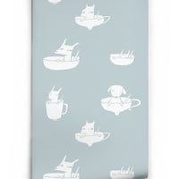Pups in Cups Boutique Wallpaper in Bleu by Milton & King