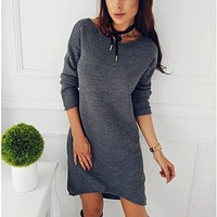 New Women Winter Warm Long Sleeve Jumper Tops Knitted Sweater Loose Tunic Mini Dresses