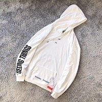 Men's Off-White Fashion Long Sleeve Hoodie Hooded Sweatshirt White