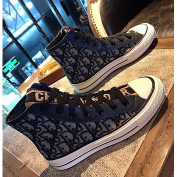 Dior High top shoes women's thick soles versatile embroidered board shoes leisure sports shoes