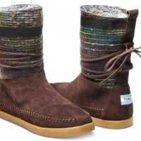 TOMS Shoes Brown Wool Stripe Nepal Boots Women's Winter Shoes,