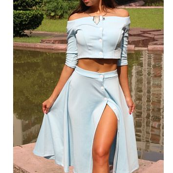 The new dress is a two-piece one-piece dress with crop button on the shoulder