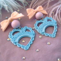 Teal lilac and Peach Sweetheart Earrings by imyourpresent on Etsy