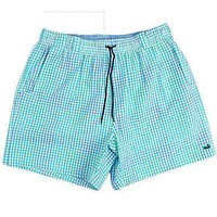 Dockside Swim Trunk in Antigua Blue and Teal Seersucker Gingham by Southern Marsh