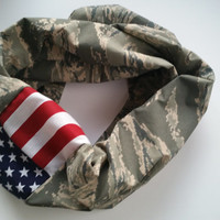 Tiger Air Force ABU Camo Infinity Scarf, American Flag Military Scarf