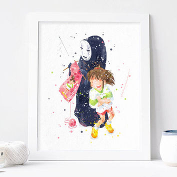 Spirited away poster, no face, Studio Ghibli, chihiro, Hayao miyazaki, spirited away print watercolor nursery Film poster anime art download