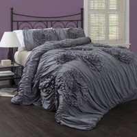 Lush Decor Serena 3-Piece Comforter Set, Queen, Gray