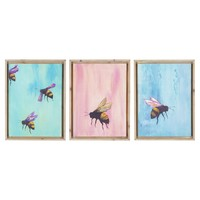 Asst Bee Canvas Wall Art S/3