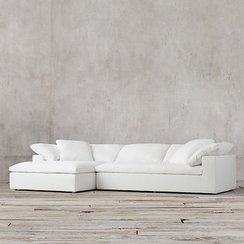 Preconfigured Cloud Track Arm Fabric Right-Arm Chaise Sectional