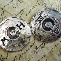His and Her Pair of Custom Fine Silver Golf Ball Markers, Personalized on BOTH Sides, Solid Silver, Unique Gift for Him, Gift Set