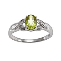 Gem Sensations Sterling Silver Peridot & Diamond Accent Twist Ring (Green)