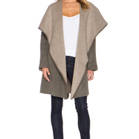 Vince Leather Trim Drape Front Coat in Heather Taupe & Truffle