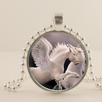 Wings on a white Unicorn fantasy glass and metal Pendant necklace Jewelry.