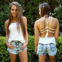 FESTIVAL WHITE ROPE BACKLESS STRAPPY CAGED OPEN BACK TANK TOP 6 8 10 12