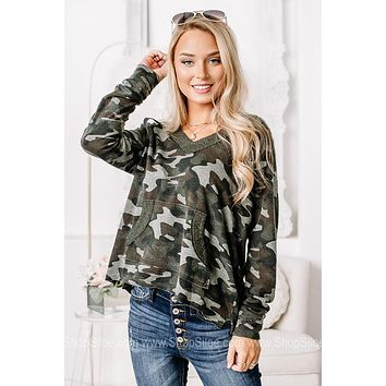 The Time Of Day Benson Camo Pullover Top