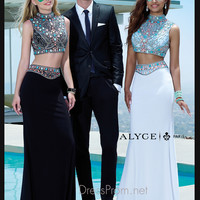 Sleeveless Beaded Crop Top Formal Prom Gown By Alyce Paris 6372