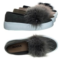 Hestia Gray By Soda, Faux Fur Pom Round Toe Slip On Fashion Sneaker.
