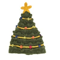 Keep your head warm in this heavy knit yarn hand made unisex hat. Featuring a Christmas Tree design, complete with ornaments appliqués throughout, this festive knit winter accessory will standout everywhere. Unlined.