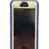 iPhone 5/5s Otterbox Case Glitter Cute Sparkly Bling Defender Series Custom Case White Gold / Blue