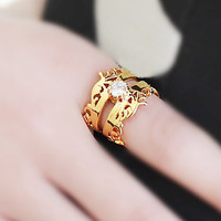 Gold Mid Stone Crown Ring