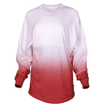 Tess- Womens Long Sleeve Ombre Football Tee