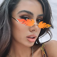New style personalized cut-edge frameless sunglasses, flame-shaped colorful ocean film, sunglasses